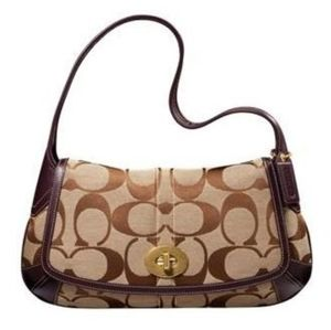 Coach Brown Khaki Signature Turnlock Shoulder Bag